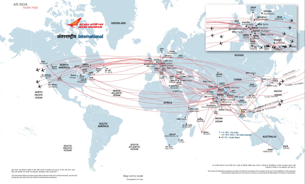 Air india network air india switzerland air india world map gumiabroncs Gallery